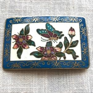 Vintage enameled belt buckle